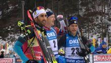 Das Siegertrio im Massenstart, M.Fourcade (Platz 2), J.T.Boe (Platz1), A.Guigonnat (Platz3)