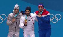 Simon Schempp(Silber), Martin Fourcade(Gold), Emil Hegle Svendsen(Bronze)