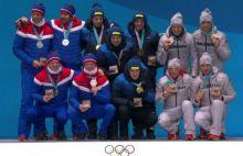 Siegerehrung olympische Herrenstaffel