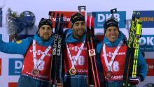 Simon Desthiuex (2.), Martin Fourcade (1.), Quentin Fillon Mailett (3.)