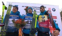 Quentin Fillon Maillet (2.),Alexander Loginov (1.), Martin Fourcade (3.)