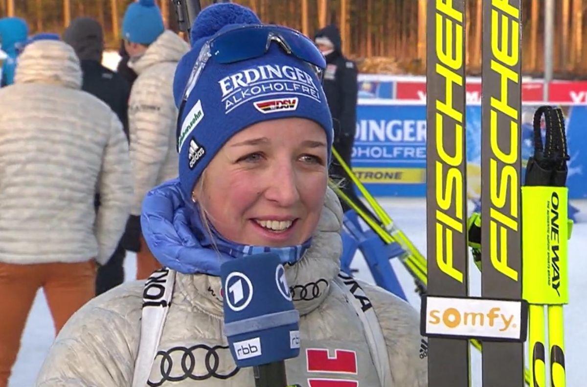 Franziska Preuß beim ARD Interview, Gesamtweltcup Platz 6